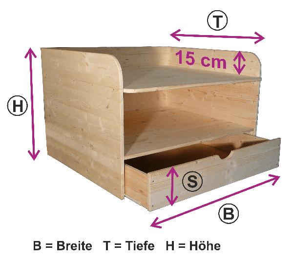 Wickelaufsatz für Badewanne mit Ablage & Schieber unten